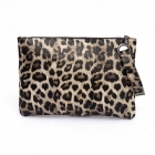 FB006 Leopard Pattern Clutch, Beige