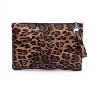FB006 Leopard Pattern Clutch, Brown