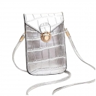 FB010 Faux Leather Small Cross-body Bag, Silver
