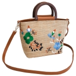 FB011 Straw Tote Bag w/Flower Embroidery