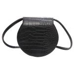 FB012 Solid Faux Crocodile Pattern Small Crossbody Bag, Black