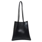 FB013 Solid Python Pattern Faux Leather Shoulder Bag, Black
