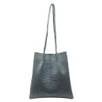 FB013 Solid Python Pattern Faux Leather Shoulder Bag, Blue