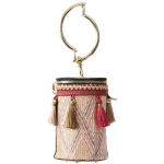 FB015 Round Woven Cross-body Bag, Red