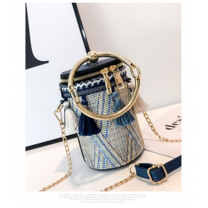 FB015 Round Woven Cross-body Bag, Blue