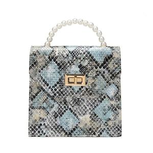 FB026 Python Pattern Mini Satchel Bag, Blue