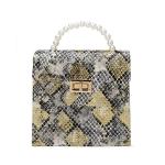 FB026 Python Pattern Mini Satchel Bag, Yellow