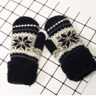 FG001 Nordic Pattern Double Layered Mitten Gloves, Black
