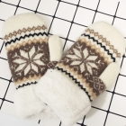 FG001 Nordic Pattern Double Layered Mitten Gloves, Camel