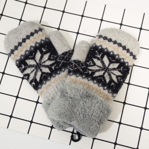 FG001 Nordic Pattern Double Layered Mitten Gloves, Light Grey