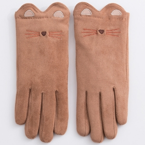 FG004 Cat Print Soft Solid Touchscreen Gloves with Lining, Camel