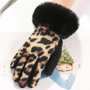 FG005 Animal Print Faux Fur Trim Gloves, Camel