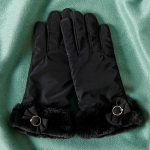 FG008 Solid Color Touchscreen Gloves with bow-tie - Black