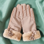 FG008 Solid Color Touchscreen Gloves with bow-tie- Khaki