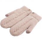 FG009 Solid Lined Mitten Touchscreen Gloves  - Beige