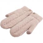 FG009 Solid Lined Mitten Touchscreen Gloves  - Beige