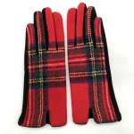 FG018 Multi Plaid Smart Touch Glove - Red