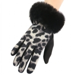 FG019 Animal Print Faux Fur Trim Gloves, Black