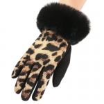 FG019 Animal Print Faux Fur Trim Gloves, Brown