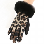 FG019 Animal Print Faux Fur Trim Gloves, Khiki