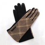 FG020 Check Pattern Smart Touch Gloves, Beige