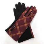 FG020 Check Pattern Smart Touch Gloves, Burgundy