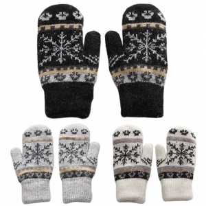 FG022 Snowflake Pattern Knitted Gloves (1DZ)