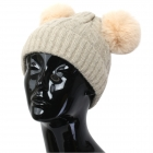 FH002 Solid Knitted Pattern Beanie Hat with Pom Pom, Beige