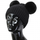 FH002 Solid Knitted Pattern Beanie Hat with Pom Pom, Black