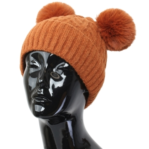 FH002 Solid Knitted Pattern Beanie Hat with Pom Pom, Brown