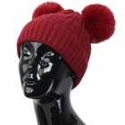 FH002 Solid Knitted Pattern Beanie Hat with Pom Pom, Burgundy