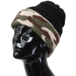 FH005 Solid Beanie Hat with Camouflage Pattern, Black