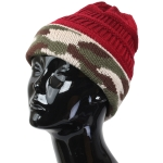 FH005 Solid Beanie Hat with Camouflage Pattern, Burgundy