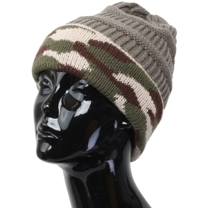 FH005 Solid Beanie Hat with Camouflage Pattern, Grey