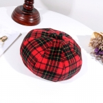 FH012 Plaid Pattern Winter Beret - Red