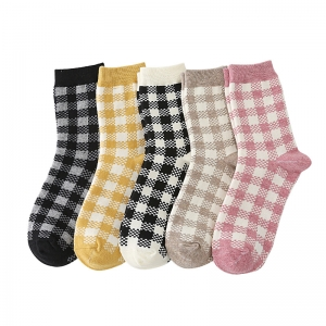 FO014 Buffalo Plaid Pattern Solid Color Socks