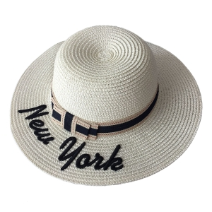 """FH022 """"New York"""" Lettering Straw Hat, Beige"""