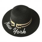 "FH022  ""New York"" Lettering Straw Hat, Black"