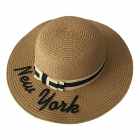 """FH022 """"New York"""" Lettering Straw Hat, Natural"""