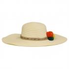 FH023 Tri-Color Poms Floppy Straw Hat, Ivory