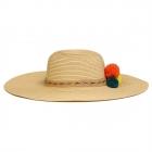 FH023 Tri-Color Poms Floppy Straw Hat, Beige