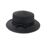 FH036A  Straw Boater Hat, Black