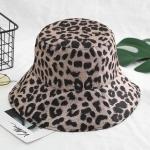 FH037A leopard Pattern Double-sided Bucket Hat - Black