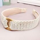 FH040 Boho Chic Straw Headband - Ivory