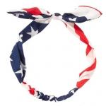 FH043 American Flag Print Bow-tie  Headband