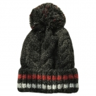 FH050 Solid Color & Multi Color Cable Knitted Beanie w/Pom, Black