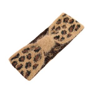 FH052 Soft Fuzzy Leopard Pattern Headband - Camel