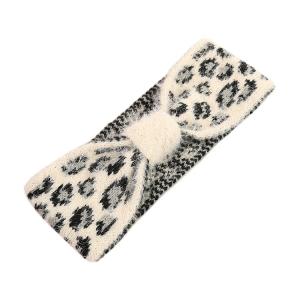 FH052 Soft Fuzzy Leopard Pattern Headband - Ivory