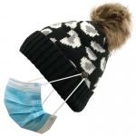 FH054 Leopard Pattern Beanie & Pony Tail Hat w/Mask Hook, Black