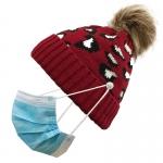 FH054 Leopard Pattern Beanie & Pony Tail Hat w/Mask Hook, Burgundy